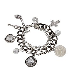 Sandra Magsamen® Silvertone Simulated Pearls And Charms Bracelet