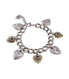 Sandra Magsamen® Two Tone Seven Hearts Charm Bracelet