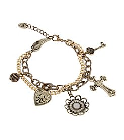 Sandra Magsamen® Goldtone Heart, Wing And Cross Charm Bracelet