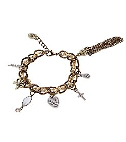 Sandra Magsamen® Two Tone Charms And Tassel Bracelet