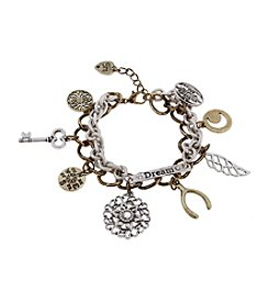 Sandra Magsamen Two Tone Wishbone And Charms Bracelet