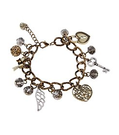 Sandra Magsamen® Two Tone Heart Key And Wing Charm Bracelet