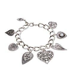 Sandra Magsamen® Silvertone Seven Heart Charm Bracelet