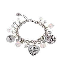 Sandra Magsamen® Silvertone Three Charm And Beads Bracelet