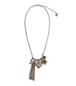 Sandra Magsamen® Two Tone Heart Flower And Tassel Necklace