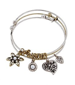 Sandra Magsamen® Two Tone Flower Star And Charms Bangle Bracelet Set