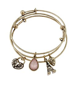 Sandra Magsamen® Goldtone  Paris Charms Bangle Bracelet Set