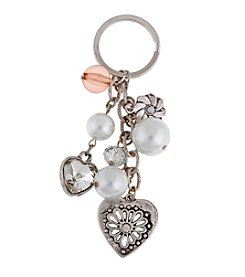 Sandra Magsamen® Silvertone Heart And Simulated Pearls Charm Keychain