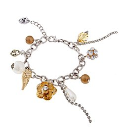 Sandra Magsamen® Two Tone Flower And Simulated Pearl Charm Bracelet