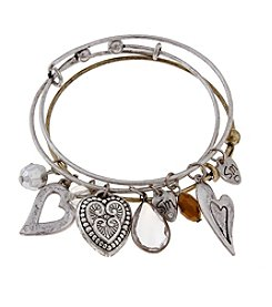 Sandra Magsamen® Two Tone Three Hearts  Bangle Bracelet Set