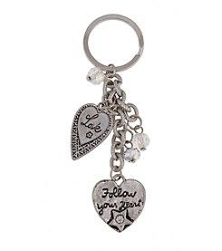 Sandra Magsamen® Silvertone Two Hearts Keychain