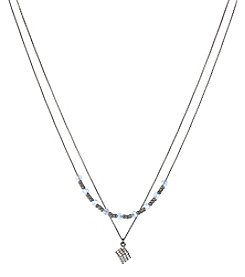 Steve Madden Hematite Tone Pave Cube & Blue Faceted Bead Necklace Set