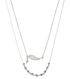 Steve Madden Silvertone Wing Frontal & Blue Faceted Bead Necklace Set