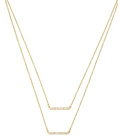 Steve Madden Goldtone Pave Double Bar Frontal Gold Necklace