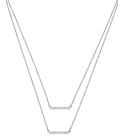Steve Madden Pave Double Bar Frontal Silvertone Necklace