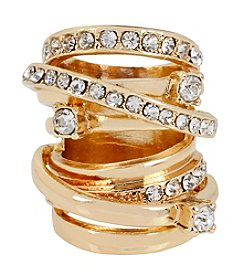 Steve Madden Goldtone Crystal Faux Stacked Ring