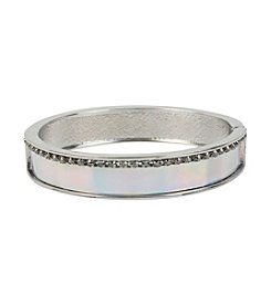 Steve Madden Silvertone Crystal Hinged Bangle Bracelet
