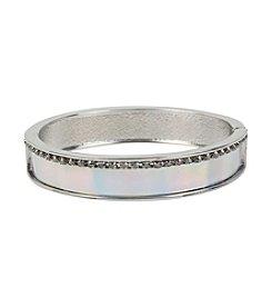 Steve Madden Silvertone Crystal Hinged Bangle Bracelet