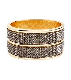Steve Madden Goldtone Pave Wide Hinged Cuff Bracelet