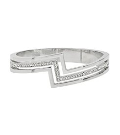 Steve Madden Silvertone Pave Geometric Hinged Bangle Bracelet