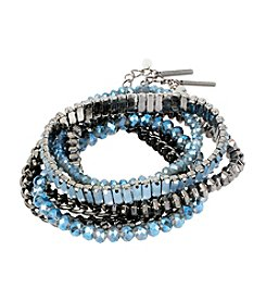 Steve Madden Hematite Tone Mixed Faceted Bead & Woven Link Bracelet Set