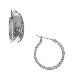 Nine West Vintage America Collection® Worn Silverrtone Small Hoop Earrings