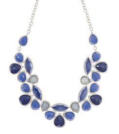 Nine West Vintage America Collection® Worn Silvertone and Blue Beaded Frontal Drama Necklace
