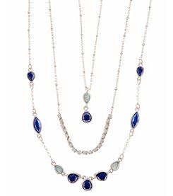 Nine West Vintage America Collection® Worn Silvertone and Blue Beaded Double Layer Pendant Necklace