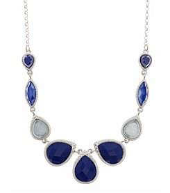 Nine West Vintage America Collection® Silvertone and Blue Beaded Small Frontal Necklace