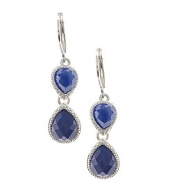 Nine West Vintage America Collection® Worn Silvertone and Blue Beaded Double Drop Earrings