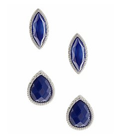 Nine West Vintage America Collection® Duo of Button Earrings in Silvertone and Blue Bead