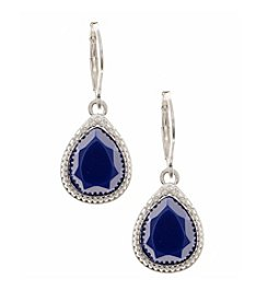Nine West Vintage America Collection® Worn Silvertone and Blue Small Drop Earrings
