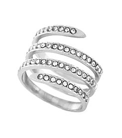 BCBGeneration™ Silvertone Jet Coil Ring