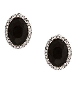 Erica Lyons® Silvertone Oval Button Clip Earrings