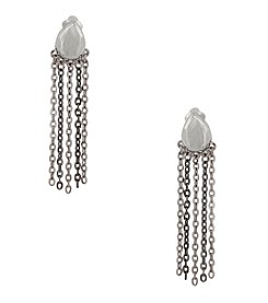 Erica Lyons® Silvertone Teardrop And Chain Fringe Clip  Earrings