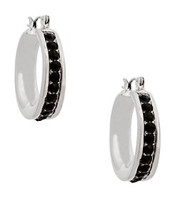 Erica Lyons® Silvertone Simulated Crystal Edge Hoop Pierced Earrings