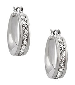 Erica Lyons® Silvertone Crystal Edge Hoop Pierced Earrings