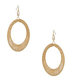 Erica Lyons® Goldtone Mesh Open Oval Pierced Earrings