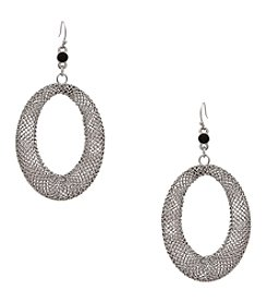 Erica Lyons&Reg; Silvertone Mesh Open Oval Pierced Earrings
