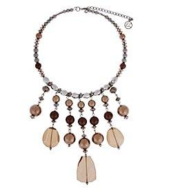 Erica Lyons® Hematite Tone Chocoholic Fringe Front Statement Necklace