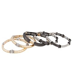Erica Lyons® Tri Tone Stretch Bangle Bracelet Set