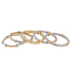 Erica Lyons® Two Tone Stretch Bangle Bracelet Set