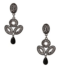 Erica Lyons® Hematite Tone  Retro Chandelier Clip Earrings