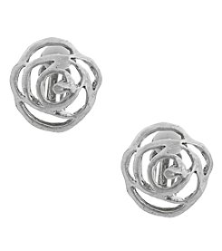 Erica Lyons® Silvertone Open Flower Button Clip Earrings