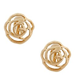 Erica Lyons® Goldtone Open Flower Button Clip Earrings