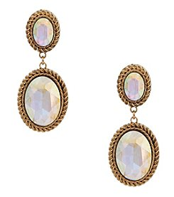 Erica Lyons® Goldtone Double Oval Drop Clip Earrings