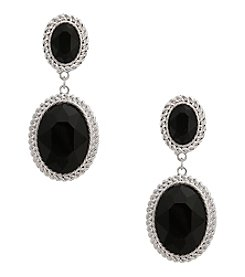Erica Lyons® Silvertone Double Oval Drop Clip Earrings