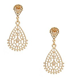 Erica Lyons® Goldtone Double Teardrop Pierced  Earrings