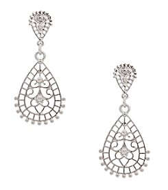 Erica Lyons® Silvertone Double Teardrop Pierced  Earrings
