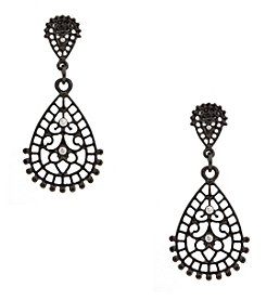 Erica Lyons® Hematite Tone Double Teardrop Pierced  Earrings